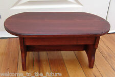 Handcrafted Heavy Duty Step Stool, OVAL Solid Wood, Kitchen Bed Foot, Mahogany