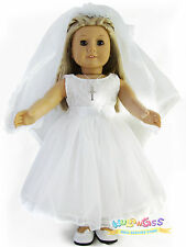 White Wedding Dress First Communion Dress Doll Clothes for 18 American Girl