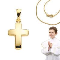 Taufe Kommunion Kreuz Brillant 0,015 Anhänger Weiß Gold 585 mit Kette Silber 925