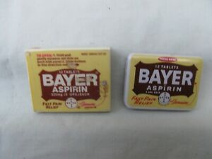 Vintage Bayer Aspirin Plastic Box & Metal Tin Container