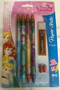 "paper mate 4 Pack ""MATES"" 1.3 lead Mechanical Pencils in Disney Princes Barrel"