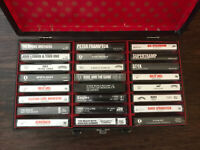 24 CASSETTE TAPE LOT With Billy Joel, KISS, Lennon Tapes Included + Tape Holder