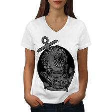 Wellcoda Deep Sea Anchor Fashion Womens V-Neck T-shirt,  Graphic Design Tee