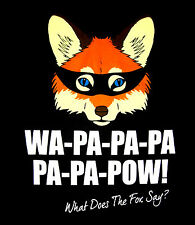 """What Does the Fox Say?"" T-Shirt, Men's Size LARGE, Black Cotton, YLVIS, $28 NEW"