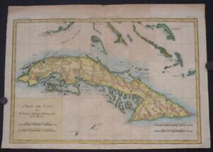 CUBA WEST INDIES 1780 BONNE & RAYNAL ANTIQUE ORIGINAL COPPER ENGRAVED MAP