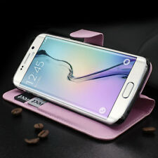 Samsung Galaxy S6 Edge G925 Imitation Cuir Portable 2 Cartes Compartiments Rose