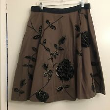 Anthropologie Odille Brown Velvet Floral Applique Skirt Size 12