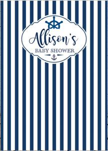 NAUTICAL BOAT ANCHOR PERSONALISED BABY SHOWER PARTY BANNER BACKDROP BACKGROUND