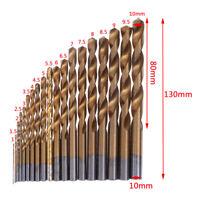 19pcs HSS Metric Drill Bit Set Titanium Coated Twist Drills Metal Wood 1-10m Gw