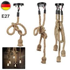 Retro Industrielampe Holz Hanfseil Hängeleuchte Seil Pendelleuchte Deckenlampen