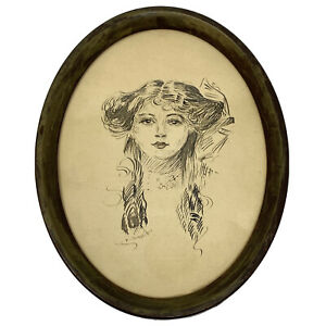 Vtg Pen & Ink Oval Framed Portrait Young Woman Artist Signed Faubel IOWA
