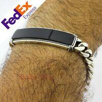 Turkish 925 Sterling Silver Onyx Stone Heavy Men's Cuban Link Bracelet 9″ inch