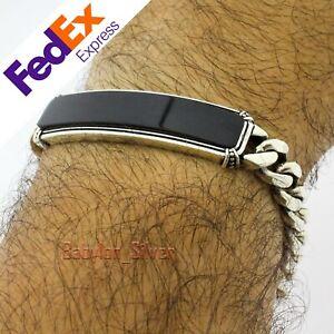 Cuban Link Turkish 925 Sterling Silver Onyx Stone Heavy Men Bracelet 8.5″ inch