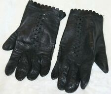 Vtg Womens Black Leather Cutout w Scalloped Wrists Hand Gloves