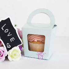 30x Single Cupcake Boxes (BLUE) - Baby Shower Favour Box Wedding Bomboniere