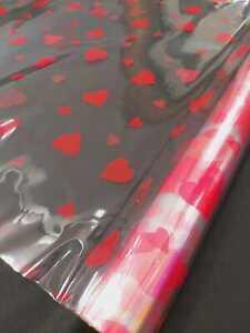 Heart Print Cellophane Roll Valentines Day 10 meter Gift Hamper Decor Florist
