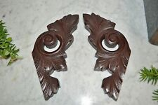 Antique Pair German Carved Wood Acanthus Scroll Brackets Architectural Supports