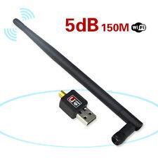 Antena 5dB Adaptador Inalámbrico 150 Mbps USB WiFi Tarjeta De Red Lan Para Pc Mac Linux