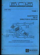 (120) MANUEL ATELIER SCHÉMAS ÉLECTRIQUES PEUGEOT 605 de 12/1991 TOMES 1 et 2