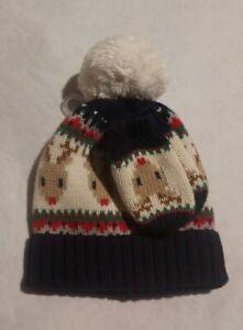 NWT Baby Gap Reindeer Sweater Knit Hat Mittens Set 0-6 Months