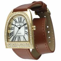 Peugeot Women's 14K Analog Display Japanese Quartz Brown Leather Watch 3039G