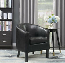 Modern Club Chair Barrel Design Accent Faux Leather Armchair Living Room, Black