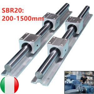 2xSBR20 Guida Lineare Rail 200-1500mm Asta Per Con 4pcs Cuscinetti SBR20UU Set