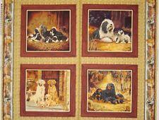 Patchworkstoff (€20/m²) 0,3m Hunde Familie Eltern und Welpen  1,1m breit
