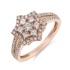 Flower Diamond Right Hand Cocktail Ring 14K Rose Gold Wide Pave Princess Cluster