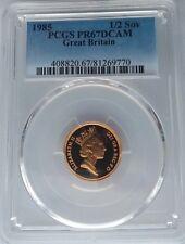 1985 Gold Proof Half Sovereign PCGS PR67 DCAM Deep Cameo Sov Great Britain