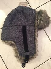 Trapper Bomber Hat TWEED New~Women's Isotoner Woodlands Quilted w/Fur Ret $36