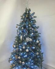 Pre-lit Silver Glitter Tipped Christmas Tree & bronze & silver Decorations 6.5FT
