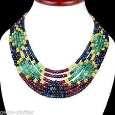 7 Strands Certified AAA Fine Cut Natural Emerald Ruby Sapphire Rainbow Necklace