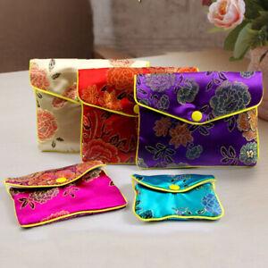 Gift Pouch Satin Coin Purse Case Handmade Embroider Silk Bag Wristlet Womens 1PC