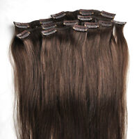 Clip in  100% Remy Human Hair Extensions 70g #4 Medium Brown