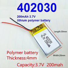 402030 3.7v 200mA Li-Po Lithium Polymer Rechargeable Battery 30mm x 20mm x 4mm