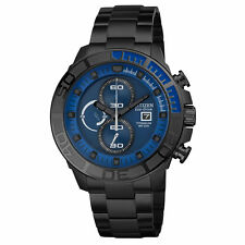 Citizen Eco-Drive Mens CA0525-50L Titanium Chronograph Black Sport Watch