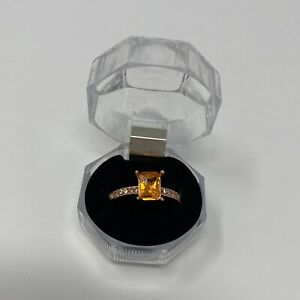 Rose Gold Toned Ring W/ Peach Colored Cubic Zirconia Center & White Accents Sz 8