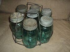 (6) Vintage Blue Mason Jars With Metal Holder-1 Jar Is Clear