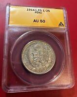 1914 L, FG 1/2 SOL PERU COIN ANACS AU 50