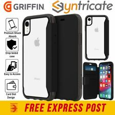 """GRIFFIN SURVIVOR CLEAR CARD WALLET FOLIO CASE FOR IPHONE XR (6.1"""")- BLACK/CLEAR"""
