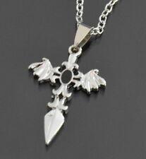 Halskette Kreuz Anhänger Kette Set Edelstahl Kreuzkette Gothik Stein Schwarz