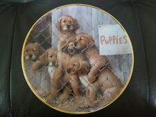 """""""Adopt A Puppy"""" Limited edition Franklin Mint Aspca 24k gold bordered porcelain"""