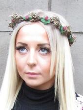 Rot Echte Getrocknete Blatt Braun Beeren Stirnband Girlande Kranz Haarblume