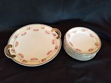 Noritake Cake Dessert Serving Plate With Handles 6 Cake Dishes Gold Handles MINT