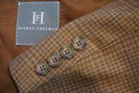 Hickey Freeman H.F. LTD Worsted Wool Brown Blue Plaid Sport Coat Jacket Sz 40R