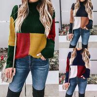Autumn Winter Knitting Women Sweater Warm Pullover Ladies Fashion Patchwork Tops