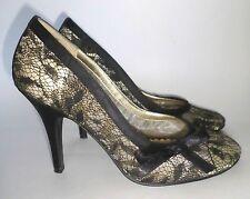 Beverly Feldman Satin Lace Pumps Heels Shoes Nude Black 7