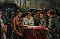 Signiert Holus - Besprechung in einer Fabrikhalle
