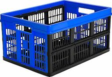 2X CleverMade CleverCrates 45 Liter Collapsible Storage Bin Container Royal blue